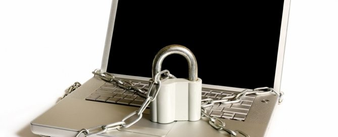 Laptop with padlock