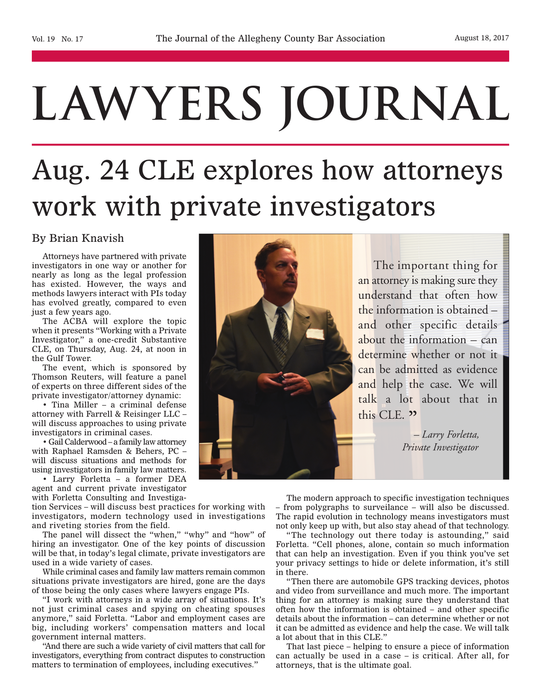 Lawyer's Journal - How attorneys work with private investigators