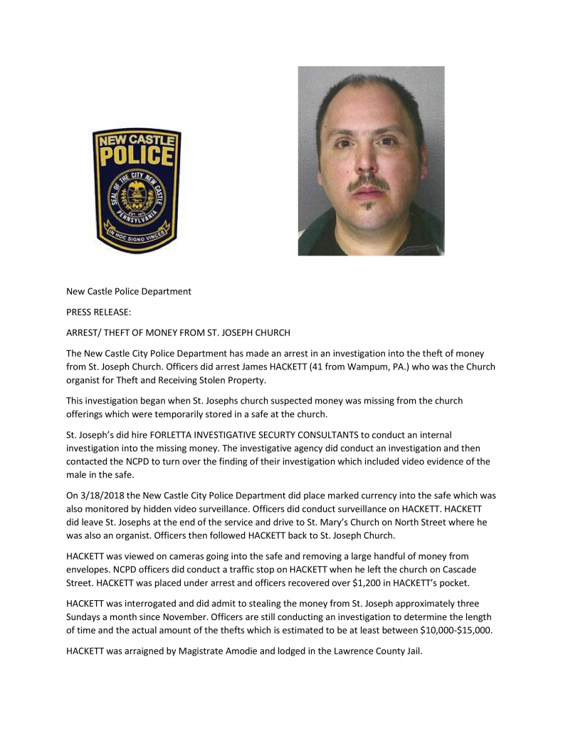 Forletta Investigation - St. Joseph Church Theft